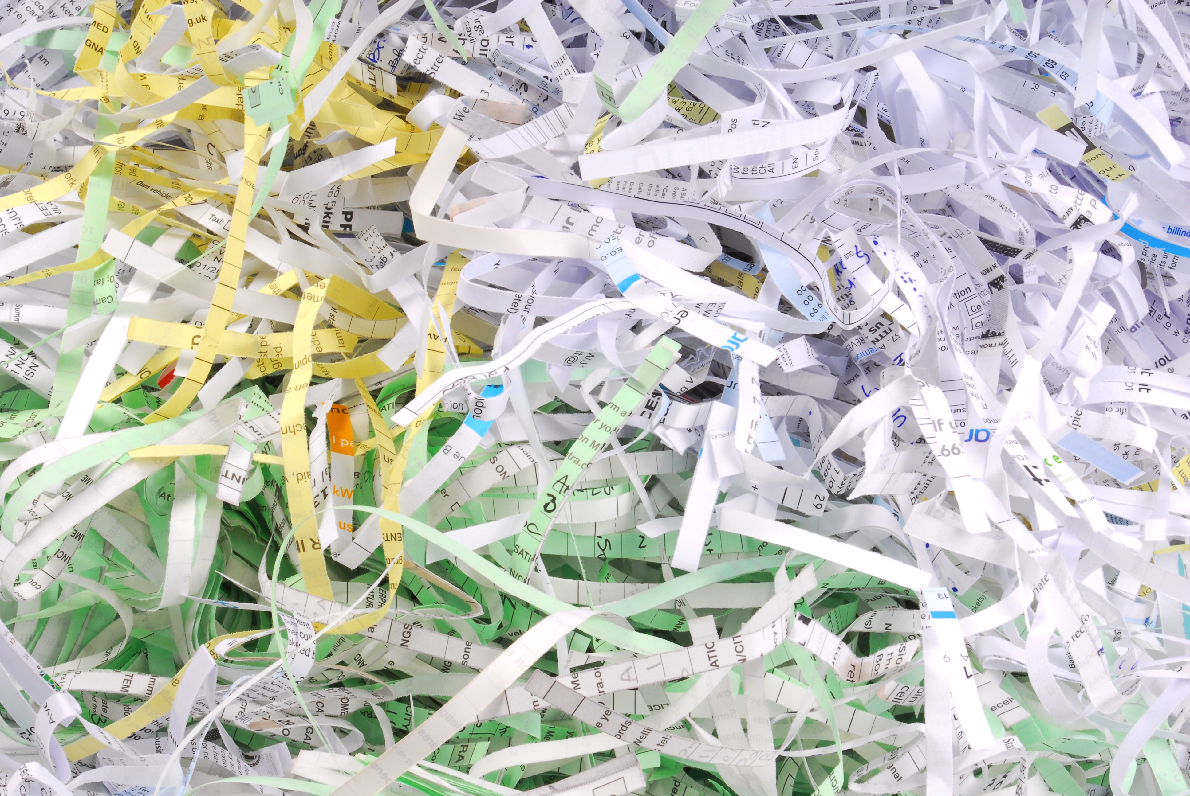 close up of the shredded document paper