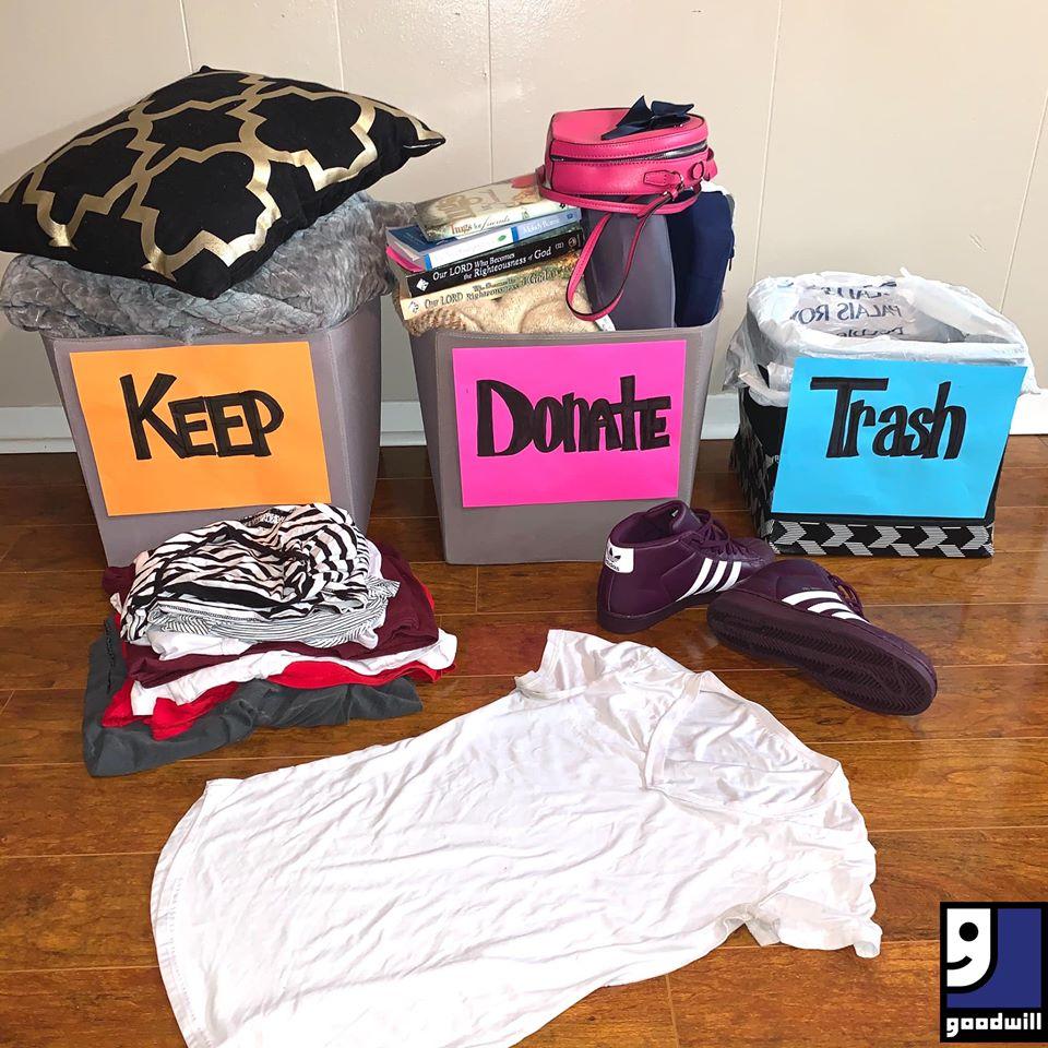Keep, Donate, Trash organizer bins